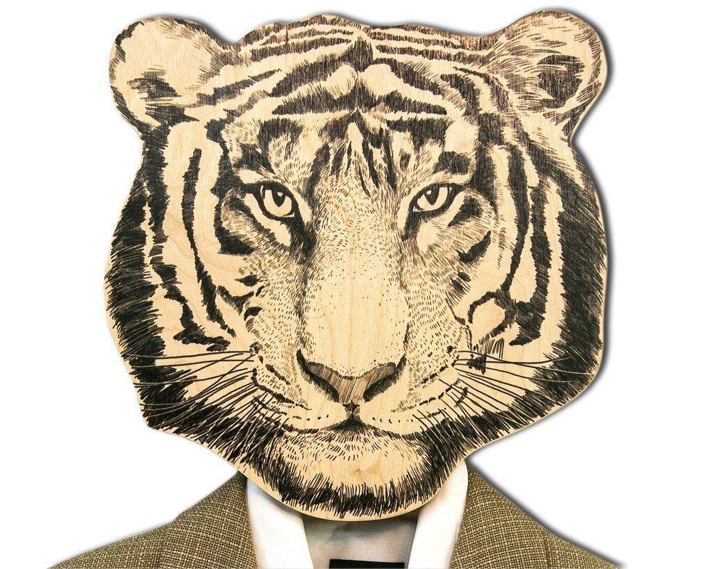 Для отца, открытки тигр в одежде